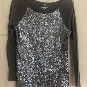 Baseball tee with sequins
